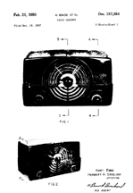 Zenith Model H725 Radio Design Patent  D-157,354