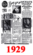 Sears Catalogue Radio Ads for 1929