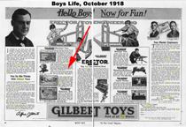 Gilbert Advertisement Octoer 1918 Issue of Boys Life