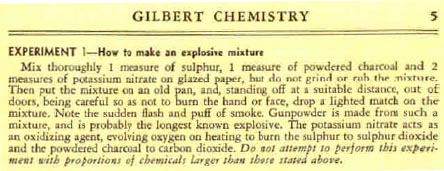 Experiment No. 1 in the Gilbert Chemistry Manual