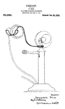 Candlestick Phone Headphone Holder, Patent D - 60,080