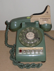 Western Electric Model 564 Desk phone, Olive with aftermarket shoulder rest