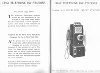 1912 catalogue listing for the Model 50 Payphone