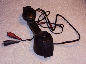 Telephone Lineman's Handset showing Earpiece and Mouthpiece