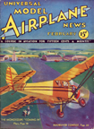 Model Airplane News Cover for February, 1933 by Jo Kotula Central Air Monocoupe 90A
