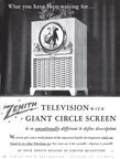 Vintage Zenith Porthole Television Advertisement from february 1949 issue of HOLIDAY