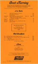 1981 Breakfast Menu for the Rio Grande Zephyr