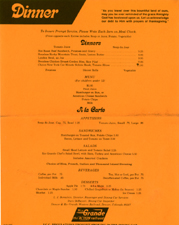 1981 Dinner Menu for the Rio Grande Zephyr