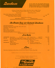 1981 Lunch Menu for the Rio Grande Zephyr