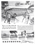 Raymond Loewy Greyhound Bus, February 1949 HOLIDAY Magazine Ad