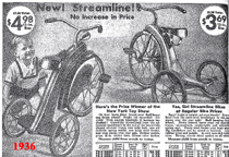 Streamlined Tricycles ad from the 1936 Sears Catalogue